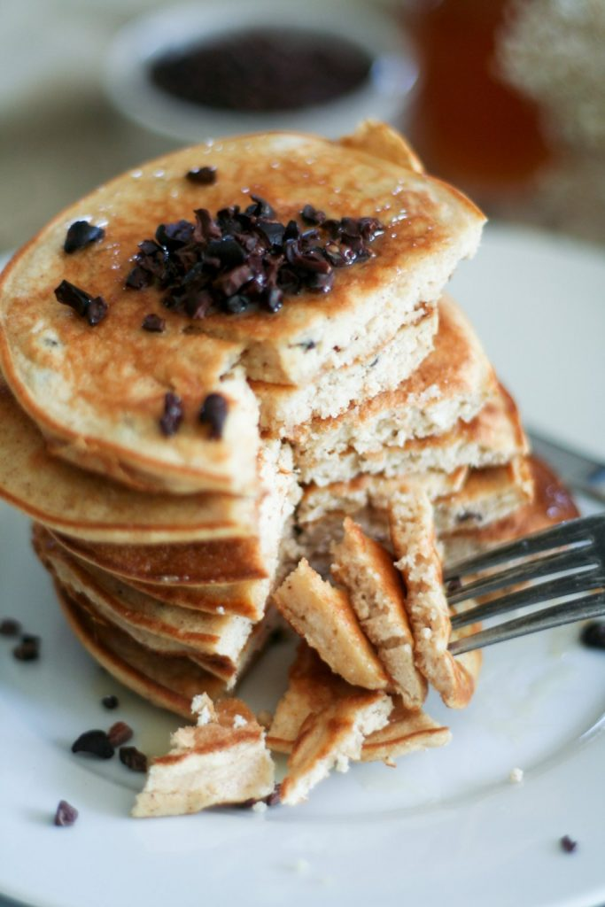 Coconut and Cacao Pancake Tower